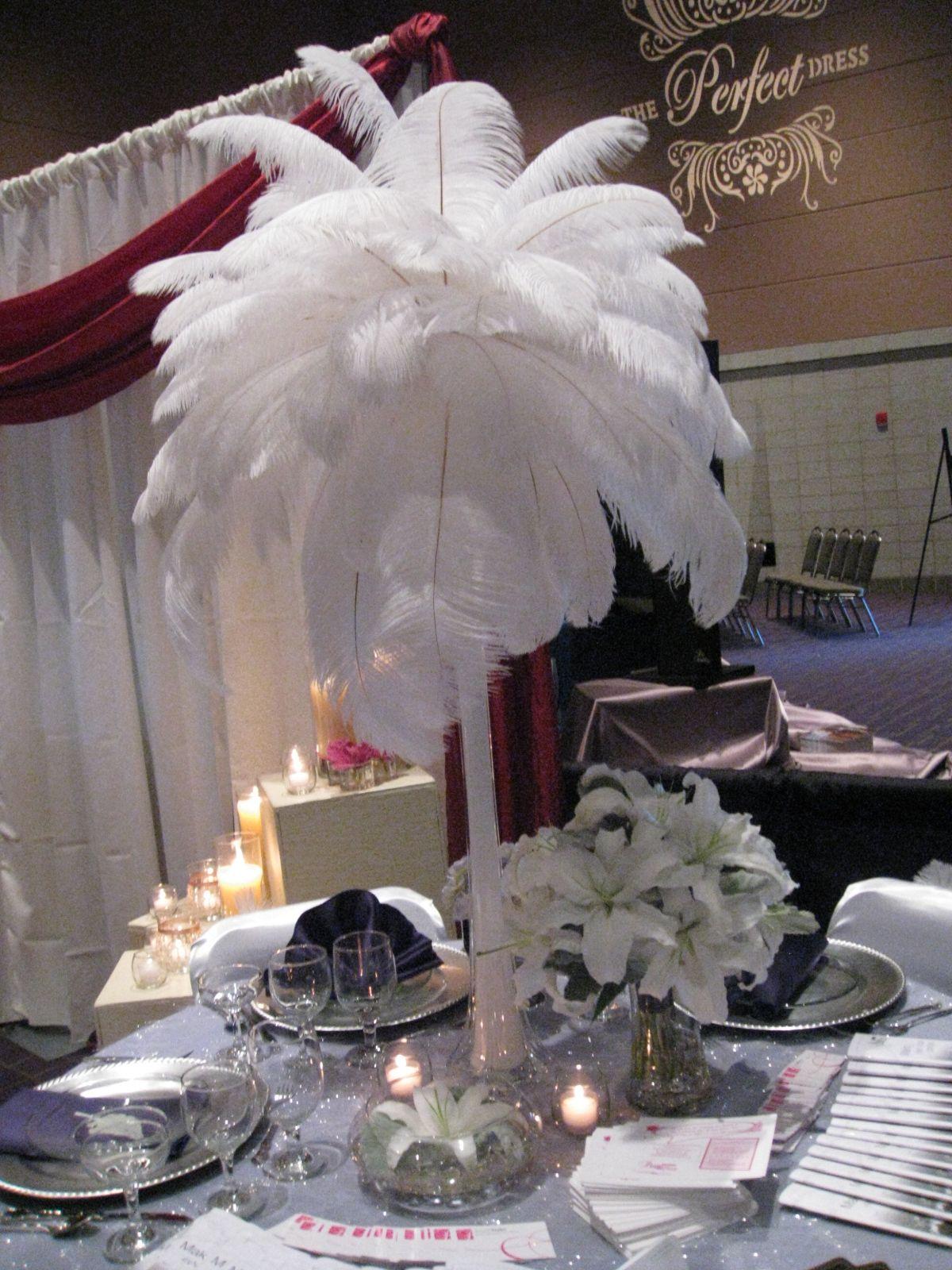 Large white feather plume center piece white party theme