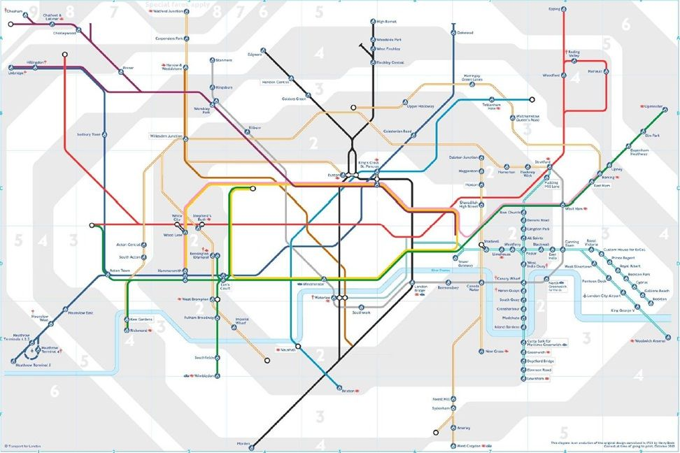 A map of accessible Tube stops Strong correlation between age of