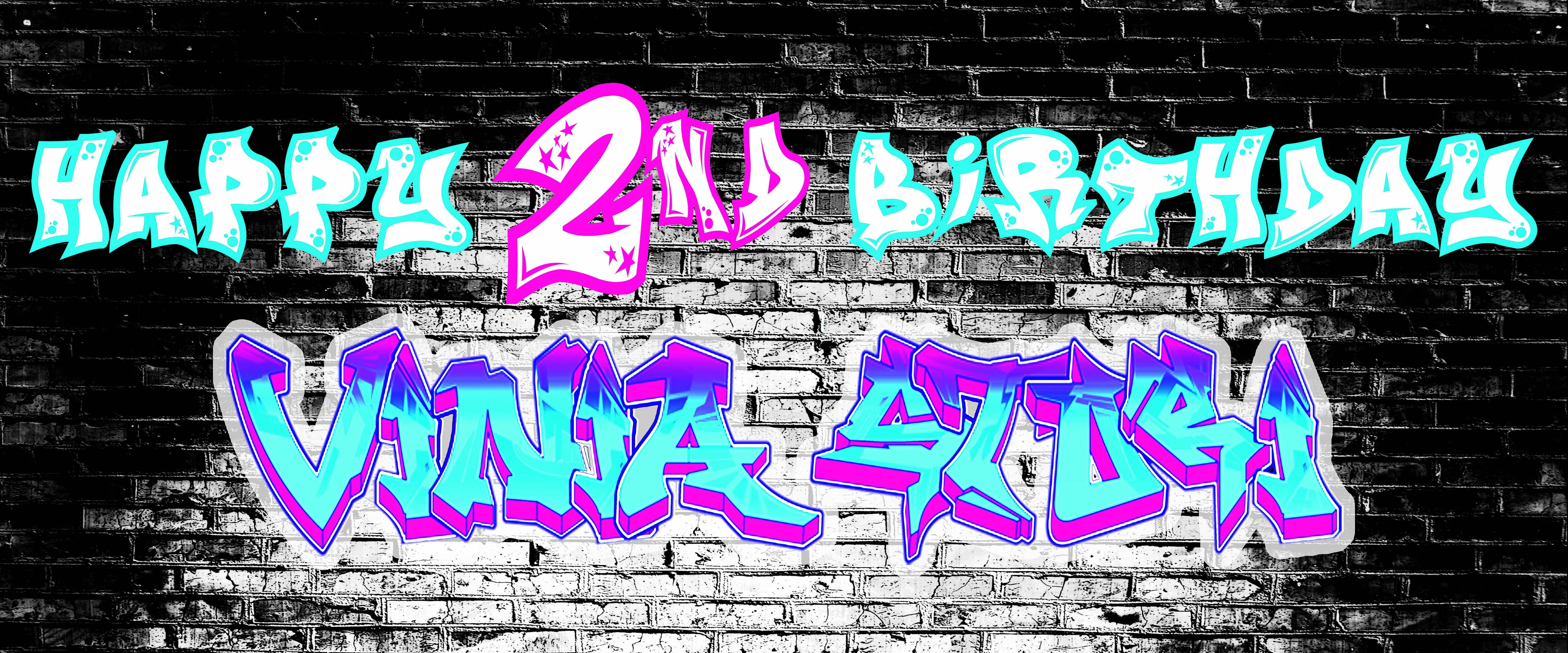 Birthday Banner Graffiti Design