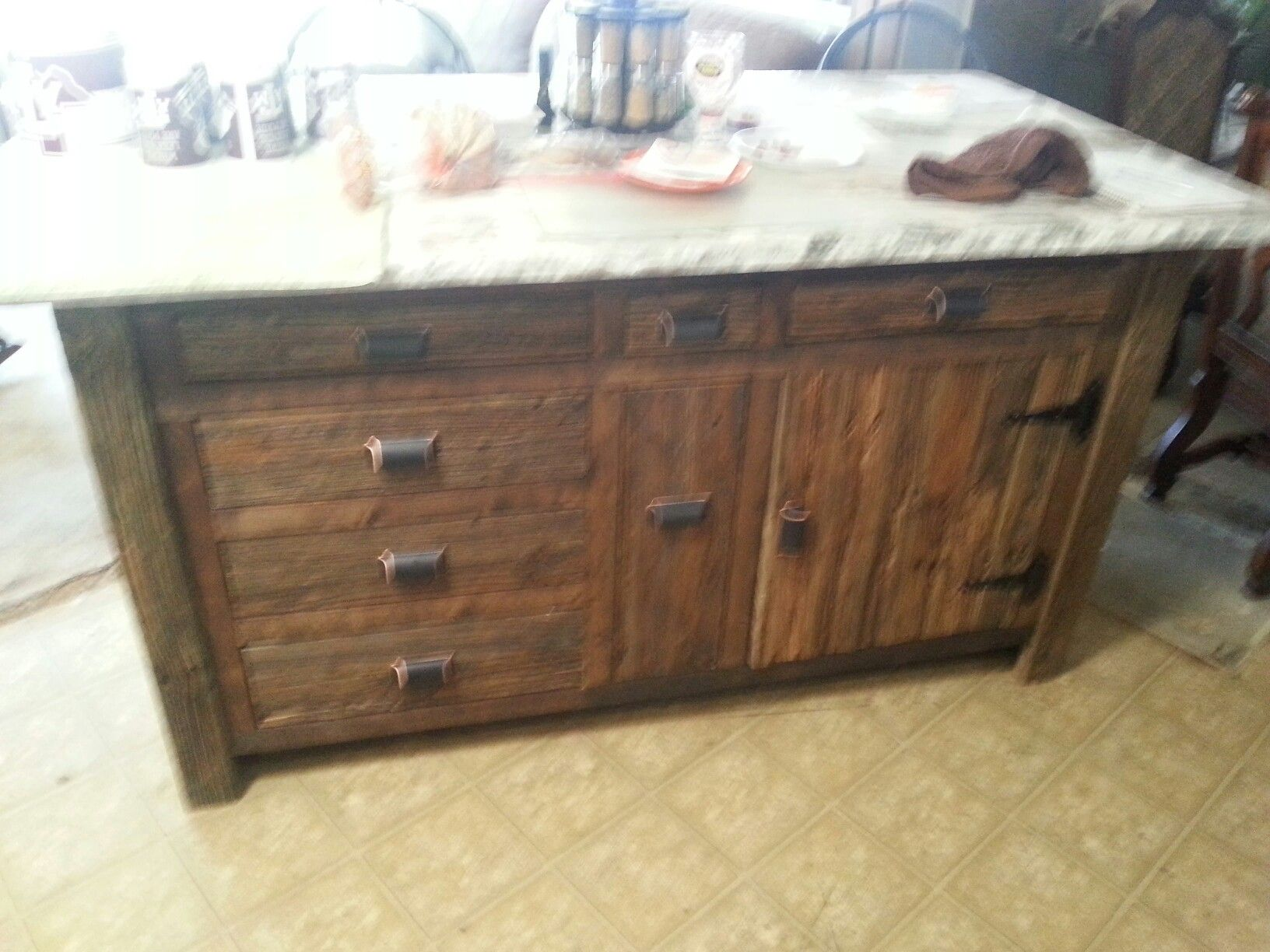 Marble Top Kitchen Island Cabinet Made Of Old 2x4 Treated Deck Board From Demolition In Th Marble Top Kitchen Island Kitchen Island Cabinets Kitchen Cabinets