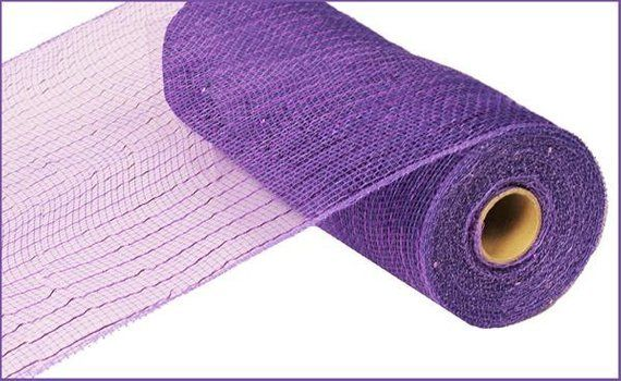 Metallic Purple with Purple Foil 10 Inch x 30 Feet Deco Poly Mesh Ribbon RE130123