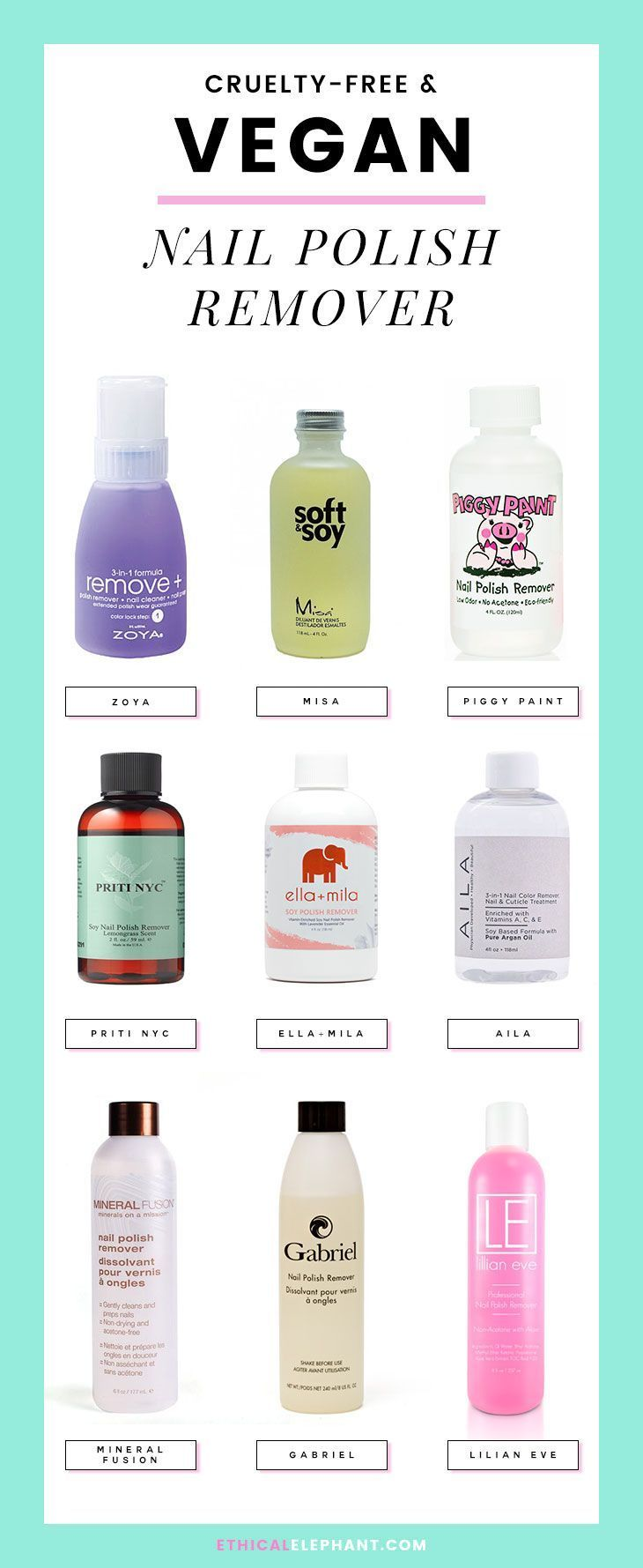 Various crueltyfree and vegan nail polish remover from