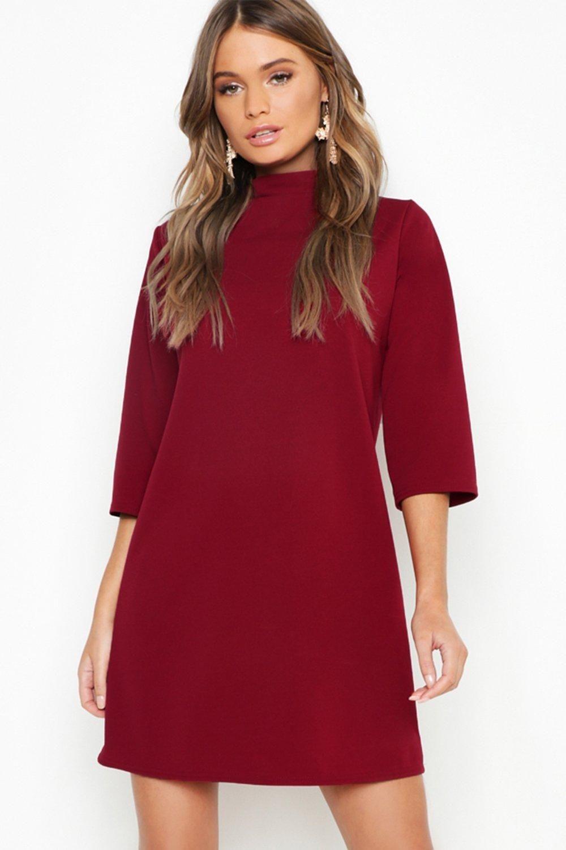 High Neck 3 4 Sleeve Shift Dress Boohoo Shift Dress Red Dress Bodycon Fashion [ 1500 x 1000 Pixel ]