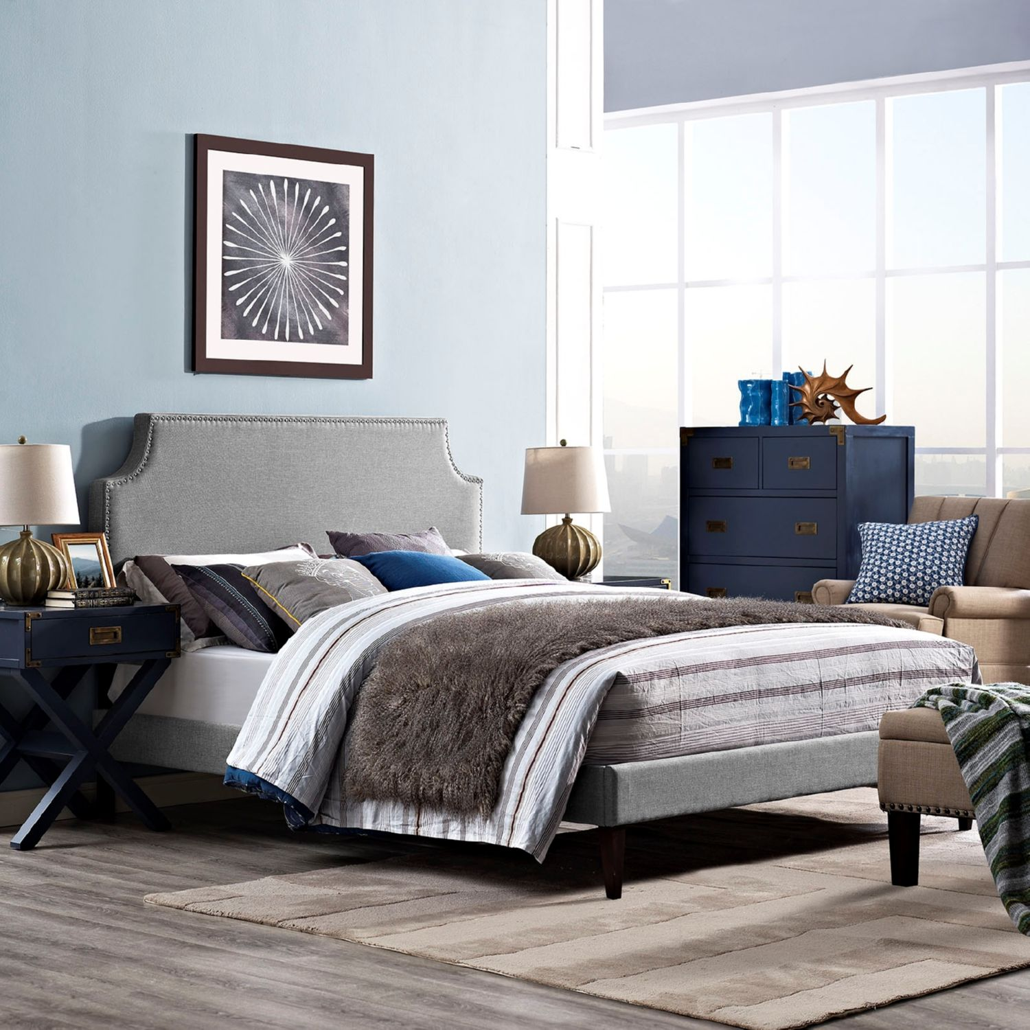 Modway Furniture 5681 Light Gray Queen Fabric Platform Bed