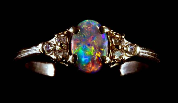 Black Opal Engagement Ring Choose Your Own Solid Diamond Wedding Bands Rings