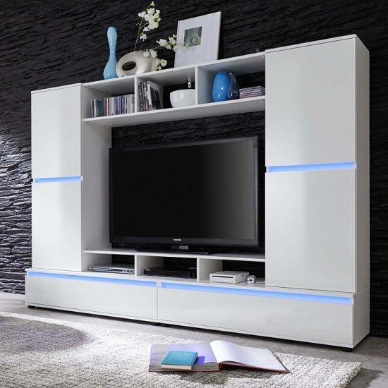 Texas Entertainment Unit In White Gloss Fronts With LED Lighting