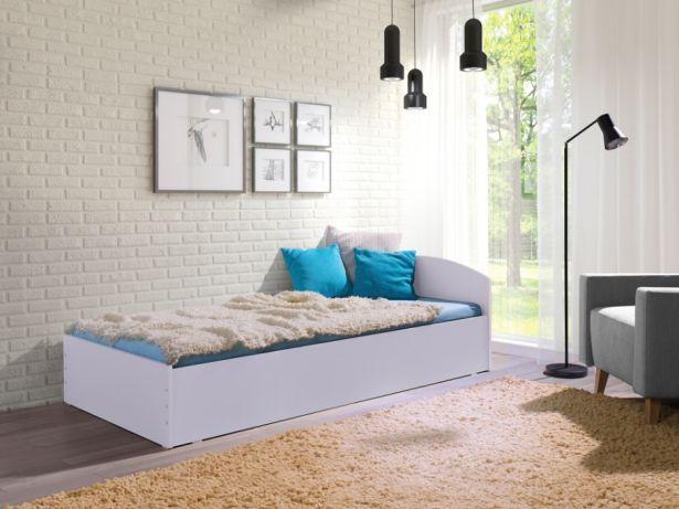 łóżko Młodzieżowe Nowe Z Materacem 90x200 Białe Dąb Sonoma