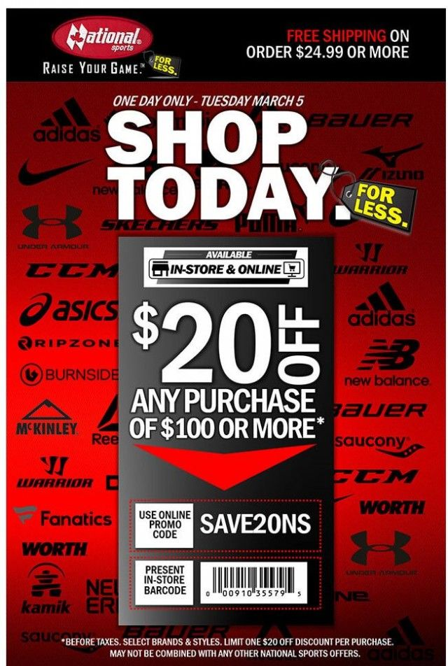 Mar 05, 2019 National Sports Get 20 Off 100 Or More