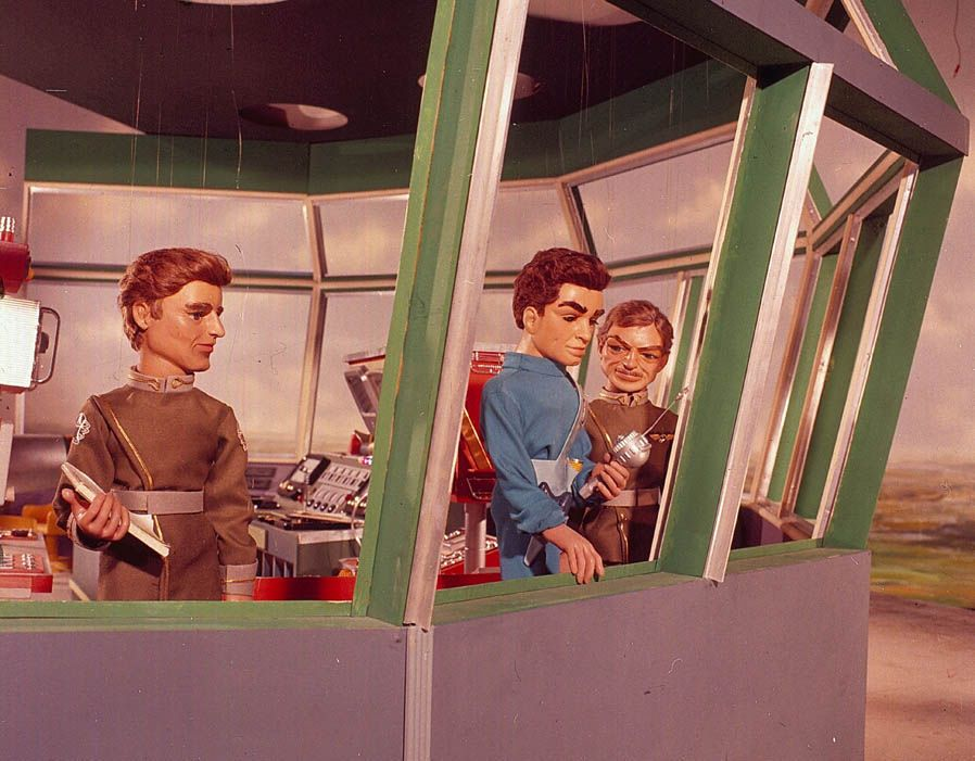Puppet character Scott Tracy the butler pictured in a Control tower scene from the television series Thunderbirds first broadcast in 1965