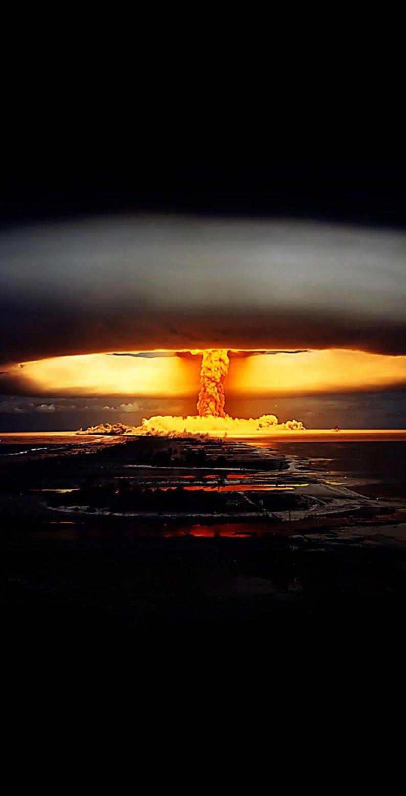 Nuclear ATOM Bomb Explosion Themed Cornhole Board Prints / Wraps   Corn Hole Wraps   Bag Toss   Corn Toss   Custom