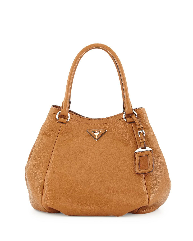 Prada Vitello Daino Small Satchel Bag, Tan (Cannella), Women's ...