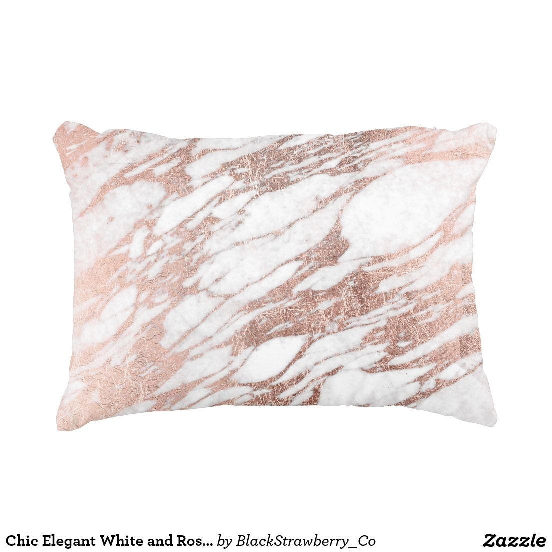Chic Elegant White and Rose Gold Marble Pattern Decorative Pillow Rose gold marble, Marble ...