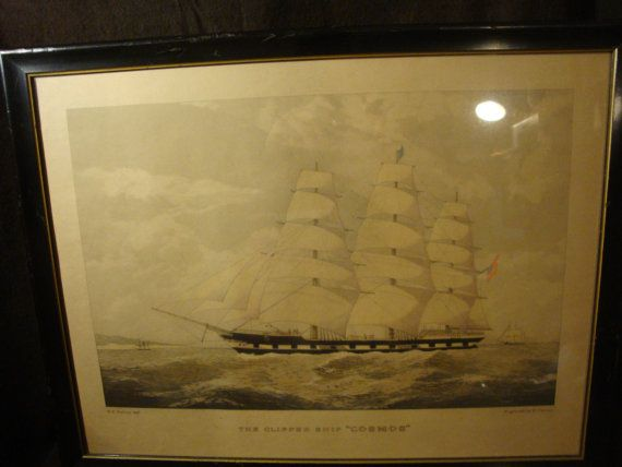 The Clipper Ship Cosmos engraving by E. Duncan by BUFFALOSPIDERS