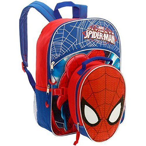 Spiderman Backpack 16 inches Detachable Lunch Bag Full Size School Tote NEW