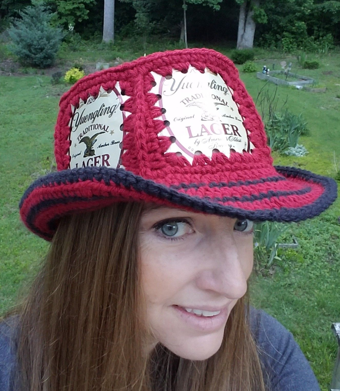 90cdfd46871 My first attempt at a fedora style hat. Fishlips the Mad Hatter on Facebook.  Find this Pin and more on Crochet beer can ...