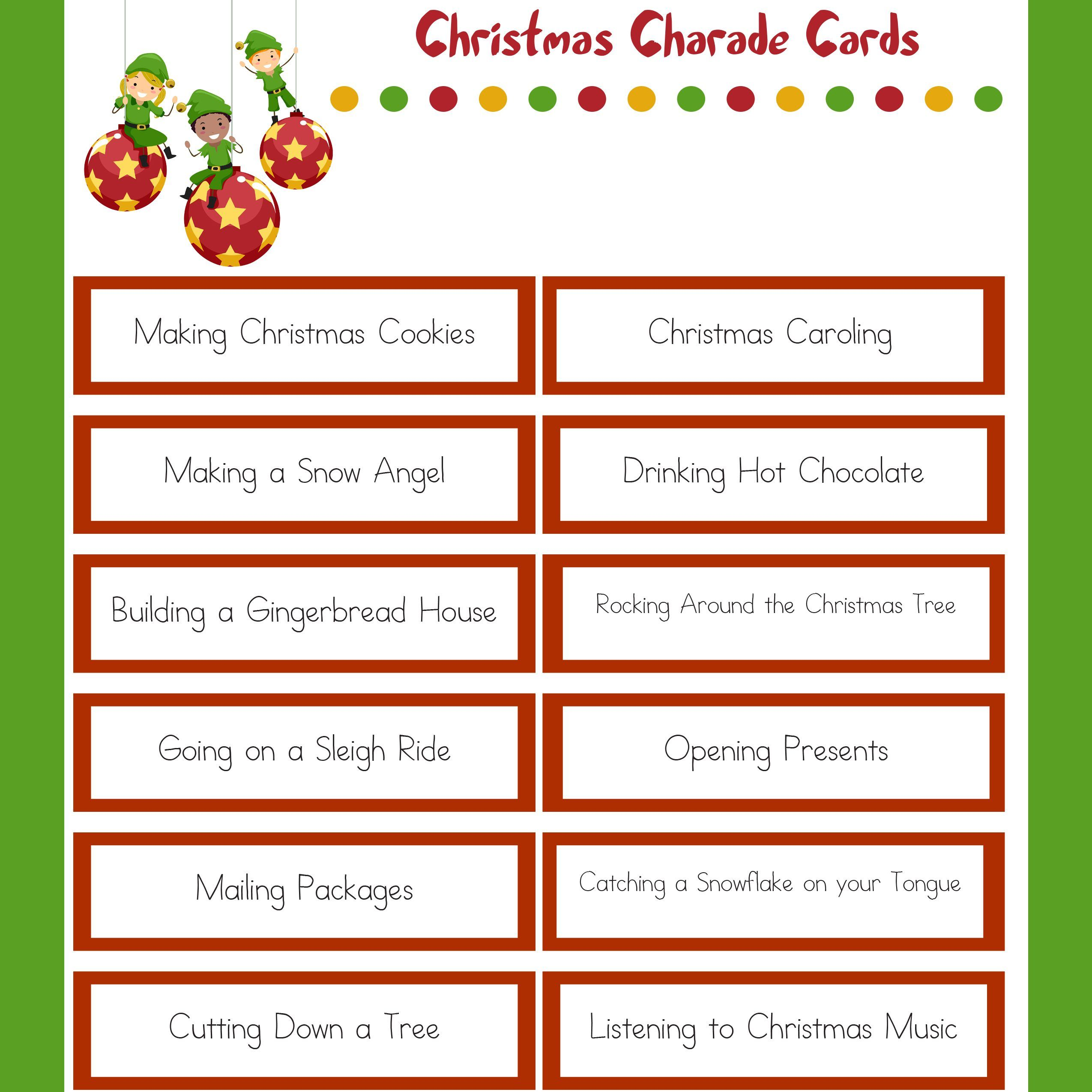 Christmas Charades Family Christmas Party Game Funny Christmas Party Games Christmas Charades Family Christmas Party