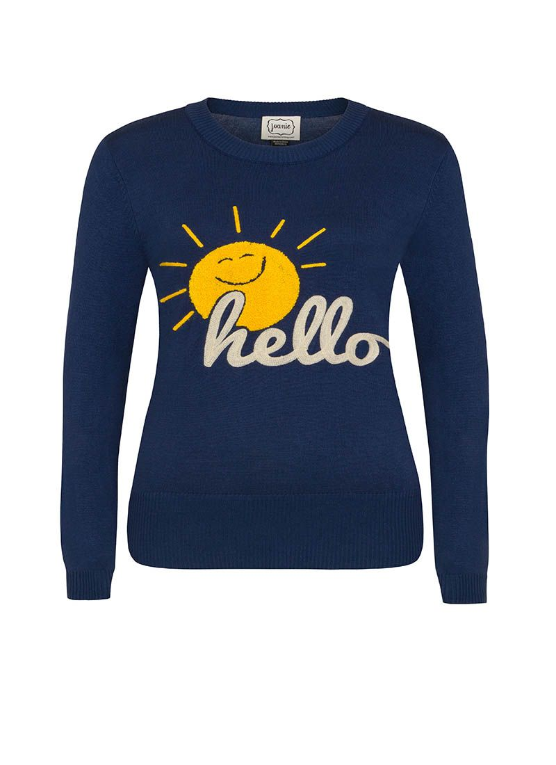 54efa0c63 Catherine is a classic crew neck, long sleeve soft knit in navy blue. This  vintage style slogan jumper has a sunshine and hello motif.