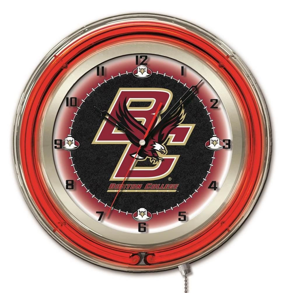 Boston College BC Logo Neon Wall Clock Neon clock