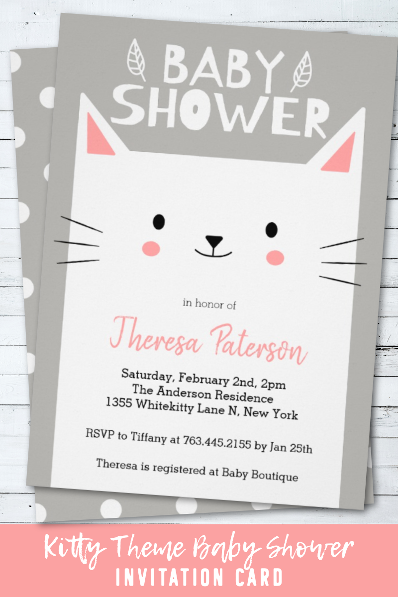 Kitty Cat Baby Shower Gender Neutral Invitation Zazzle Com Gender Neutral Baby Shower Invitations Cat Baby Shower Cat Themed Parties
