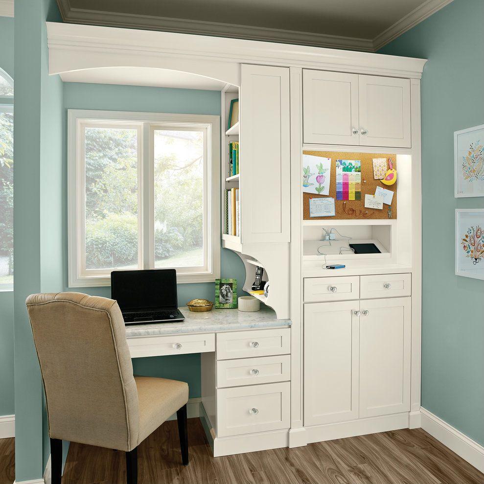 Desk, Charging Station & Message Board - KraftMaid | Kitchen remodel ...