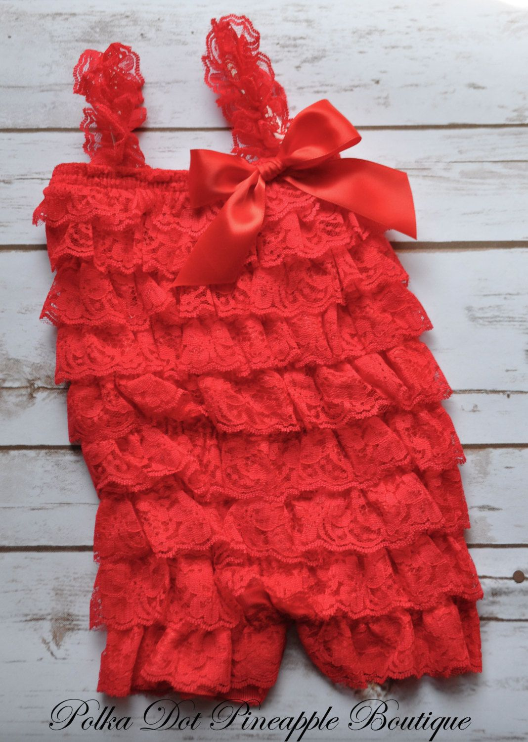 de607693cf5ac Red Lace Petti Romper-Baby Christmas Outfit-Red Lace Dress-Flower ...