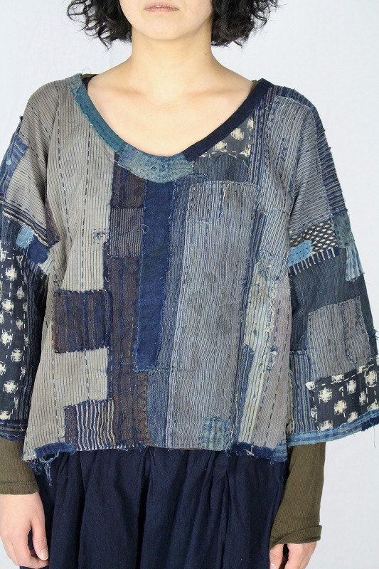 Japanese boro cotton patchwork blouse/sashiko/remake/handmade/ranru/noragi/1900s fabric/sashiko hand stitched/mixed cotton/322
