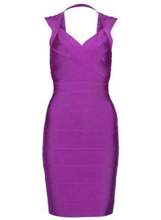 Purple Cocktail Dress - Bqueen Open-Back Halter Dress H092P  $99