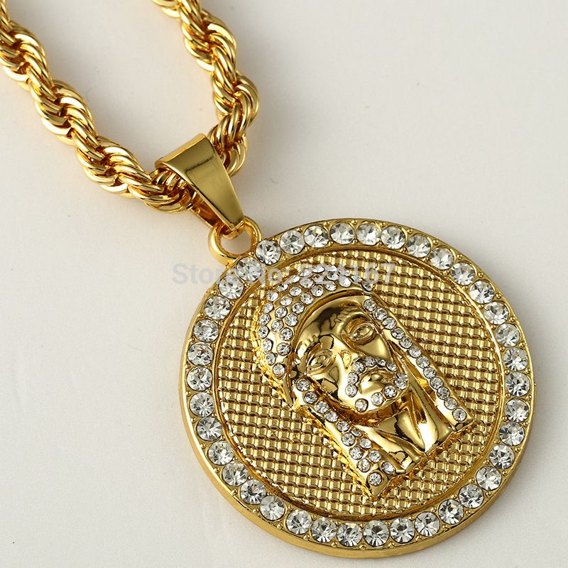 Fashion gold filled crystal jesus piece pendant necklace for men fashion gold filled crystal jesus piece pendant necklace for men women hip hop jewelry with gold chunky chain long coin necklace affiliate aloadofball Choice Image