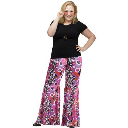 Plus Size Adult Plus Size Flower Child Bell Bottoms Costume