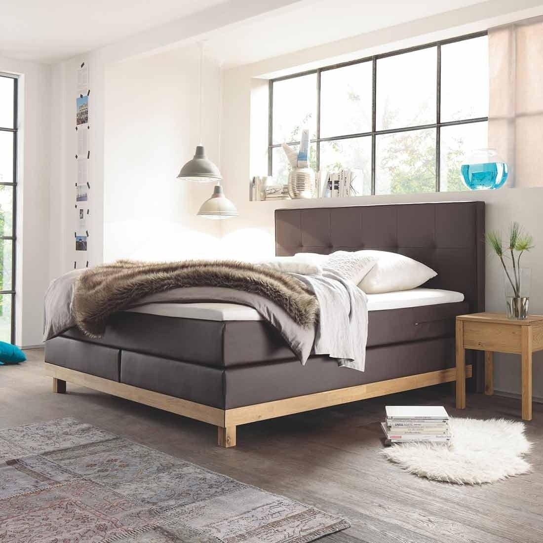 hasena pronto bella boxspringbett massivholz eiche bianco 160x200 cm polster kunstleder braun. Black Bedroom Furniture Sets. Home Design Ideas