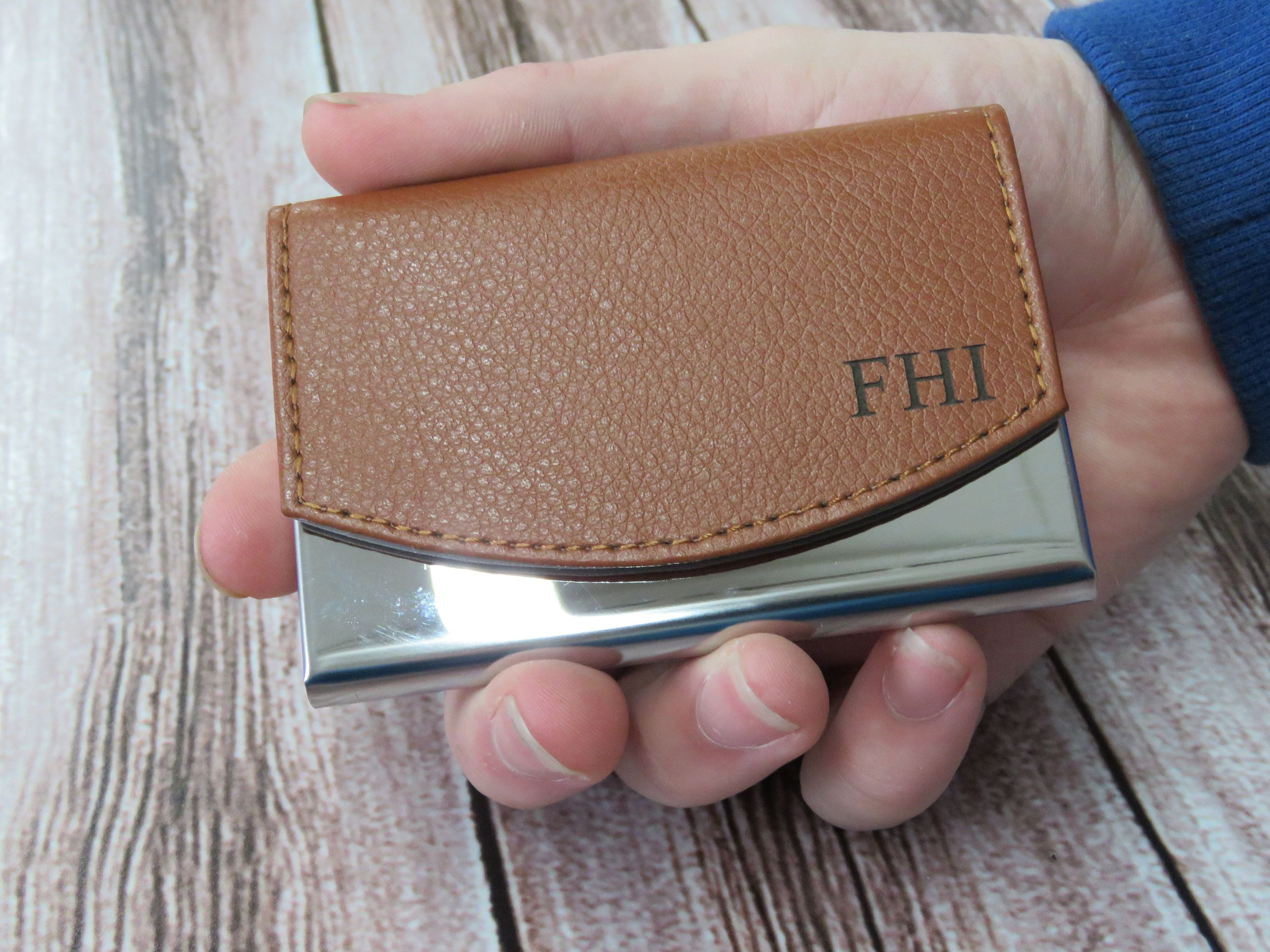 Custom Engraved Leather Business Card Holder Personalized Card Case Corporate Gifts Boss Gi Corporate Gifts Client Appreciation Gifts Leather Business Cards