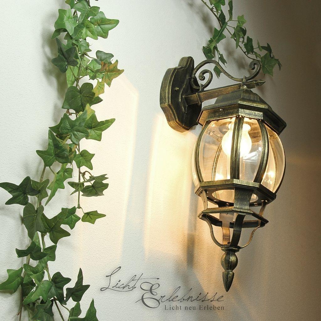 Farol de jardín Oro antiguo Lámpara exterior pared rústico Luz ...