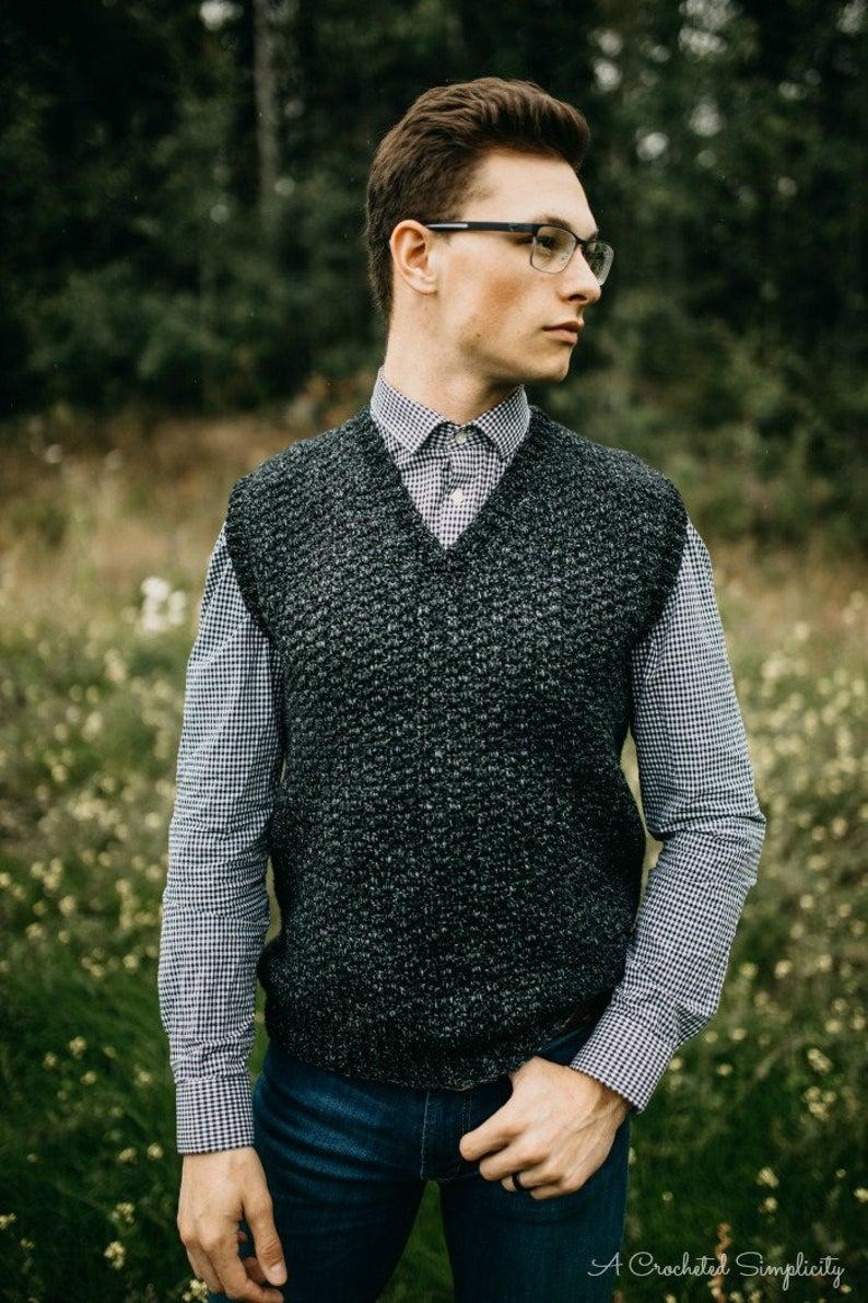Crochet Pattern Summit Men S Sweater Vest Permission To Etsy Sweater Vest Mens Crochet Vest Pattern Crochet Vest Pattern Free