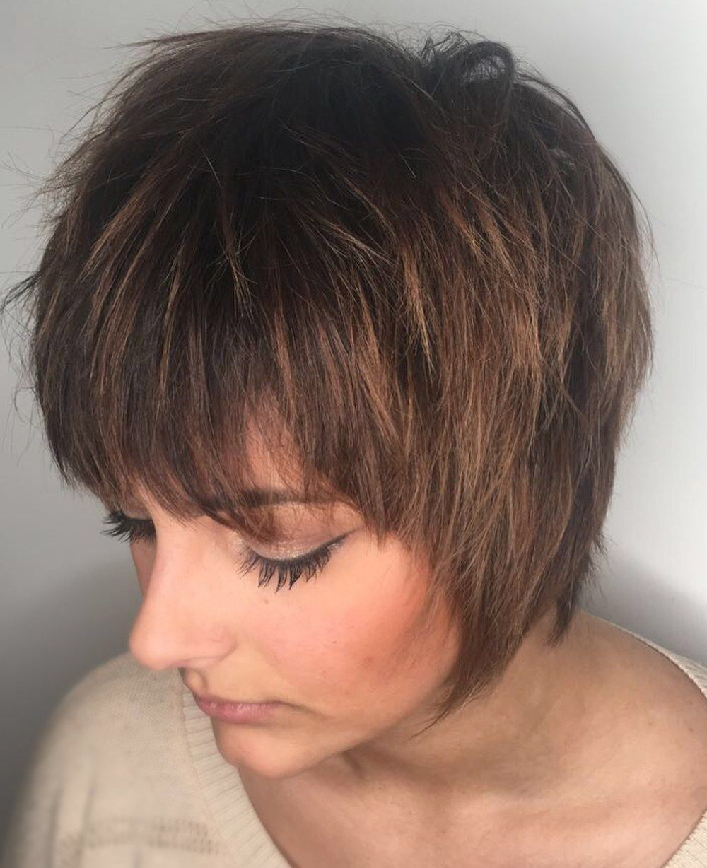 Short bob with choppy layers throughout shorthairstyles short