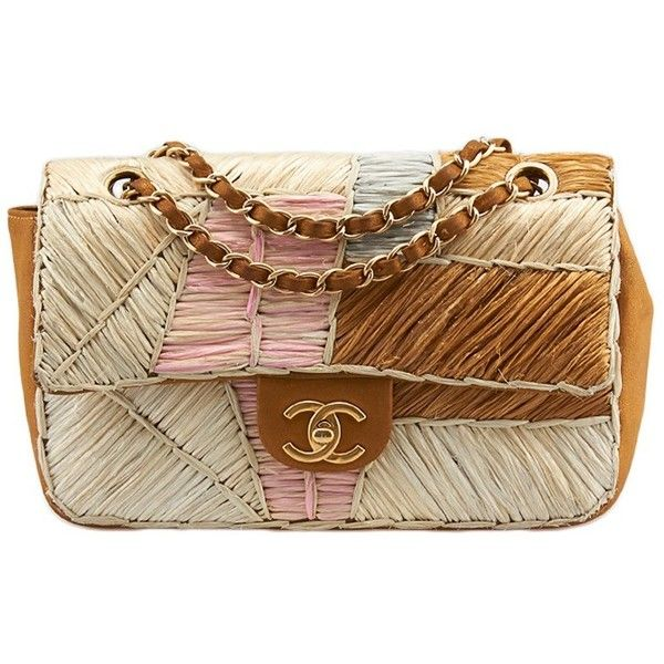 70e35447099af5 Pre-owned Chanel Classic Flap Multi-Color Leather & Raffia Shoulder...  ($2,013) ❤ liked on Polyvore featuring bags, handbags, shoulder bags,  brown, leather ...
