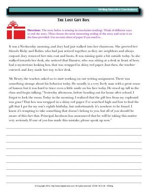 Worksheet   The Lost Gift Box   Write an interesting ending to ...