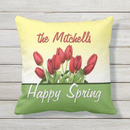 Custom Red Tulips Happy Spring Modern Retro Script Outdoor Pillow | Zazzle.com