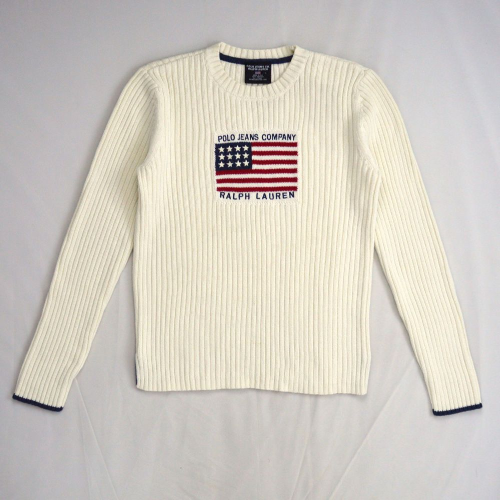 b93d5856 White Cotton Ribbed Thermal Knit POLO JEANS RALPH LAUREN American ...