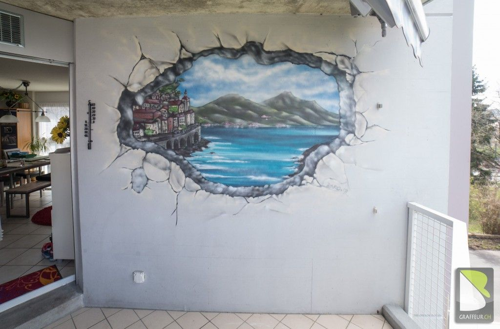 trompe-l-oeil mur cassé mer Méditerranée (avec images ...