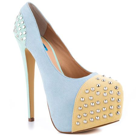 Gorgeous nude and baby blue platform heels.