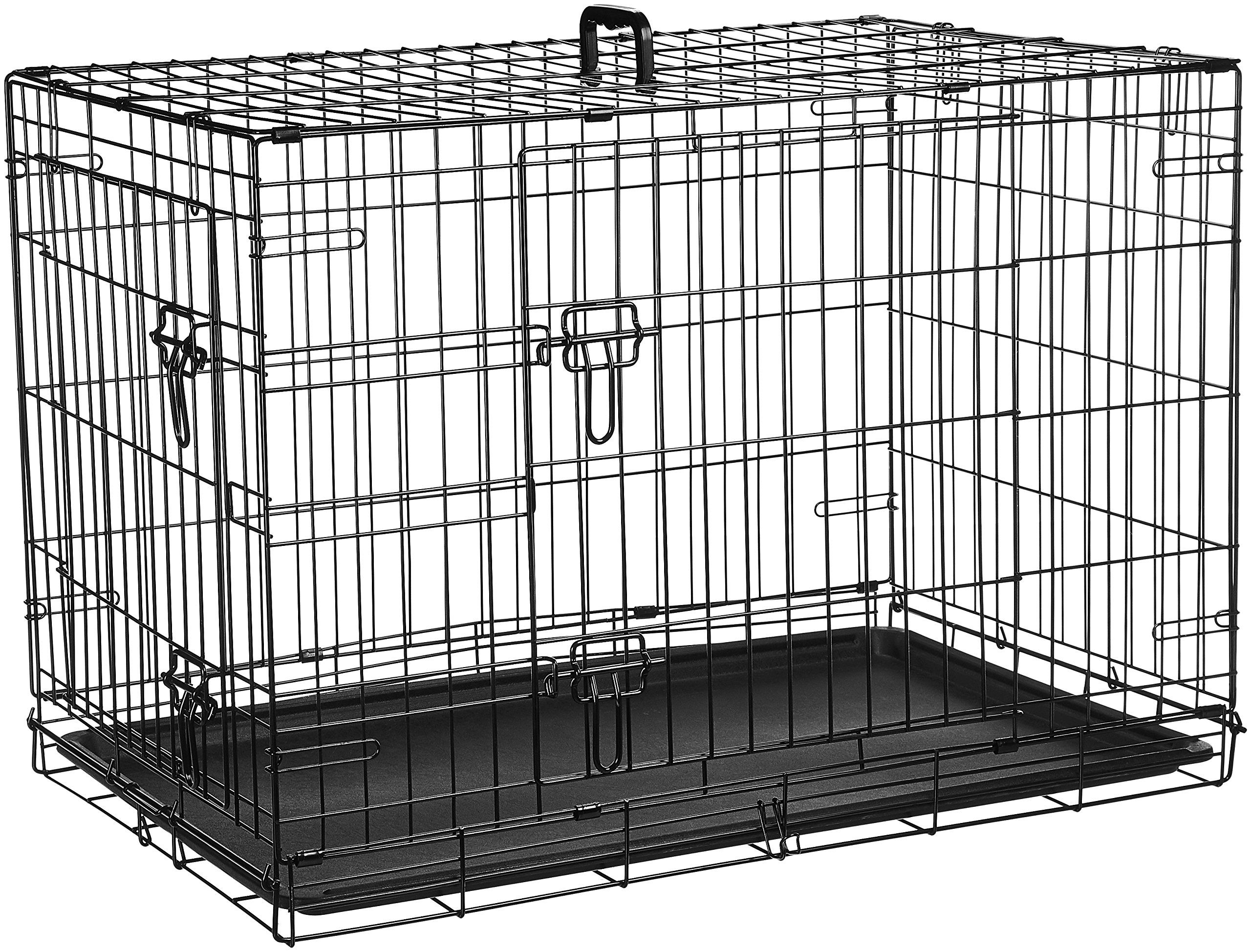 Amazonbasics Doubledoor Folding Metal Dog Crate 36 Inches Click Image For More Details This Is An Affiliate Link H Dog Crate Small Dog Crate Pet Crate