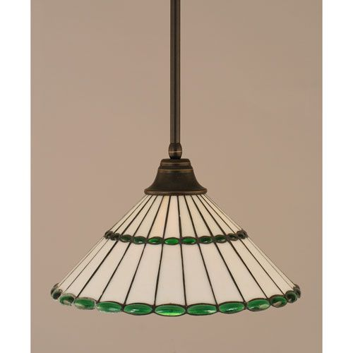 Dark Granite Stem Pendant with Honey Glass and Green Jewels Tiffany Glass