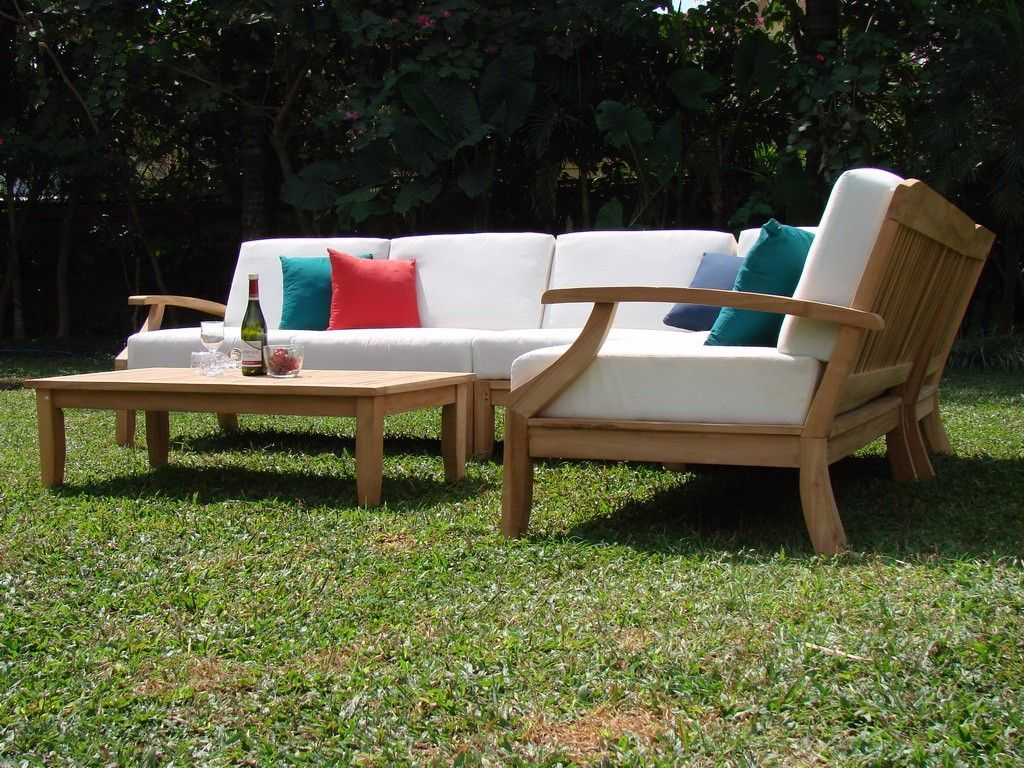 5 Pc Teakwood Teak Wood Indoor Outdoor Patio Sectional Sofa Set Pool