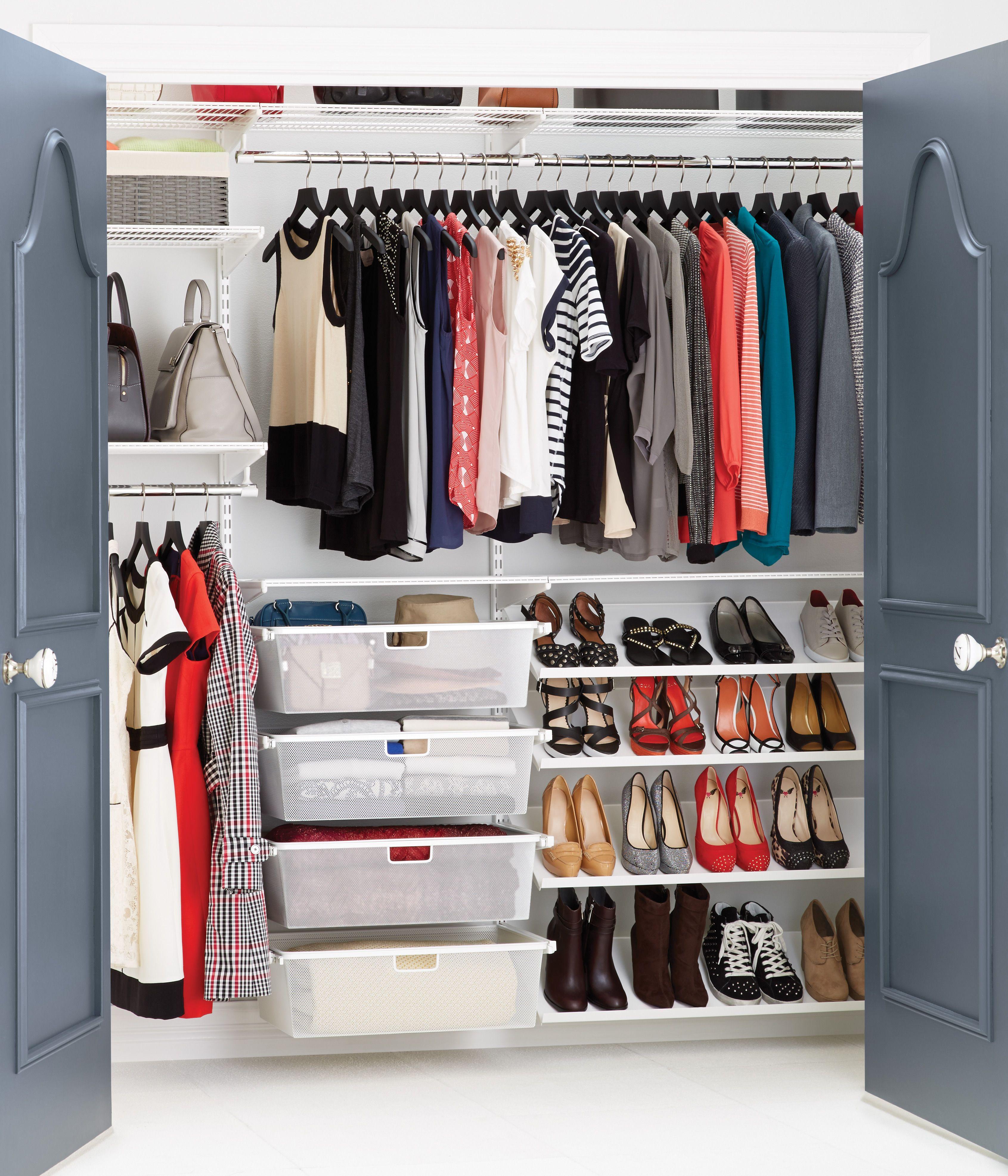 White Elfa Reach-In Clothes Closet