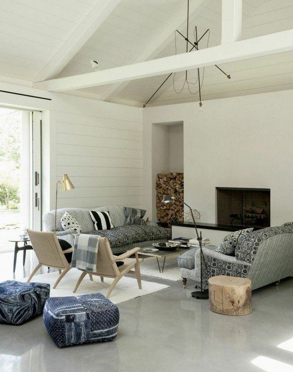 Living Room Polished Concrete Floor Contemporary Home Interior Design Ideas