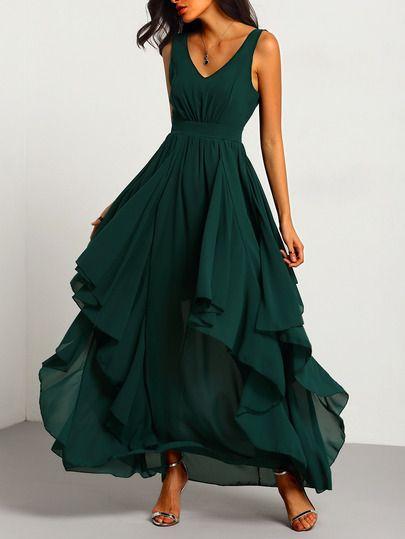 venta más barata varios diseños amplia selección de diseños Vestido cuello V maxi gasa -verde-Spanish SheIn(Sheinside ...