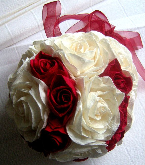 Royal red ivory wedding hanging crepe paper flower ball paper royal red ivory wedding hanging crepe paper flower ball paper flowers pomander kissing ball christmas ornament flower girl bridal basketball mightylinksfo