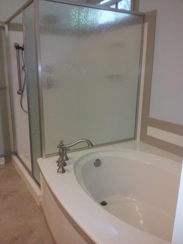 Cast Marble / Cultured Marble Tub And Shower Bath Remodel With Accent  Borders By Synmar U0026