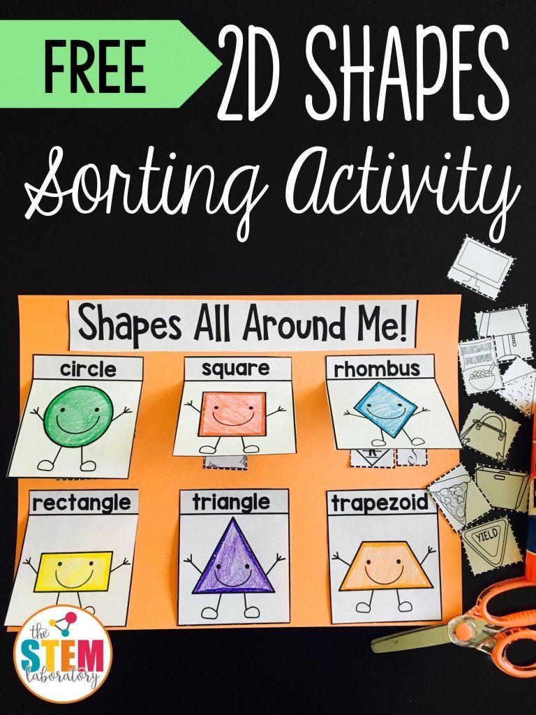 2d Shapes Sorting Activity The Stem Laboratory Shape Sorting Activities Shape Activities Kindergarten Shapes Kindergarten [ 1024 x 768 Pixel ]