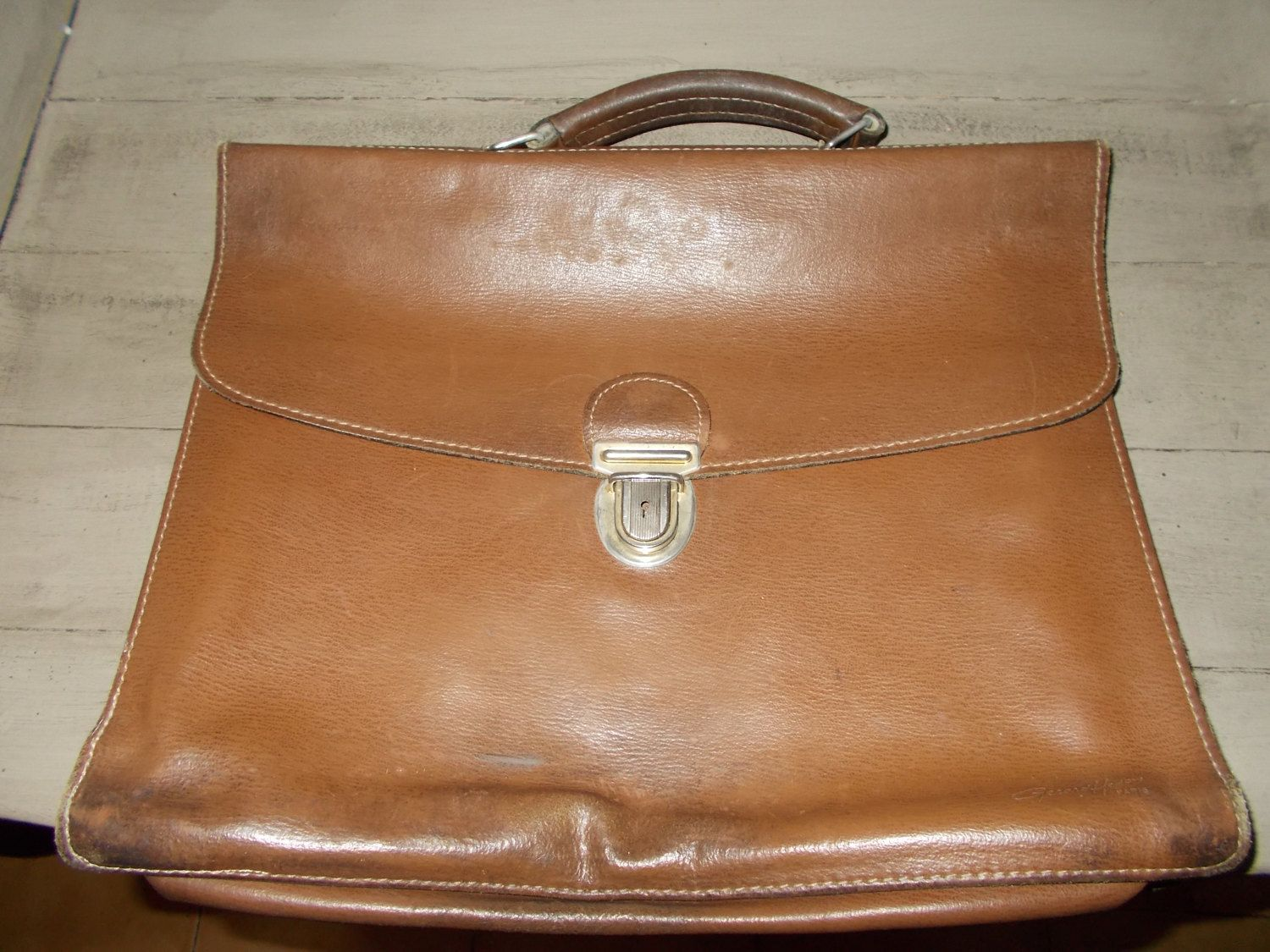 87a0eb453f Authentic Vintage French Leather Briefcase Messenger bag document bag  signed Gerard Paris from 1980 s in very clean condition by  MaisonbrocanteFrance on ...
